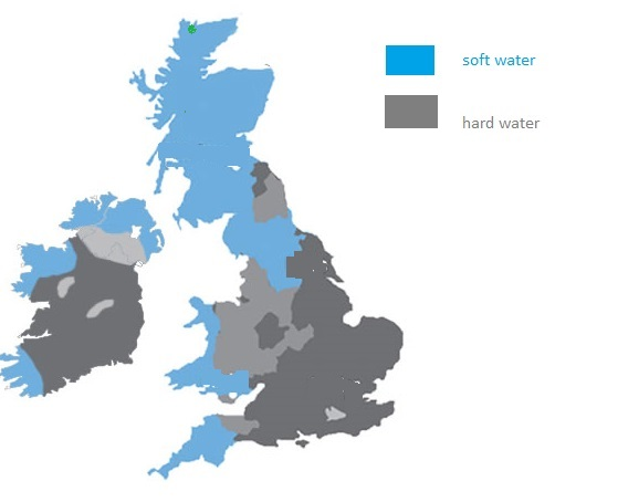 hardness water in british islands